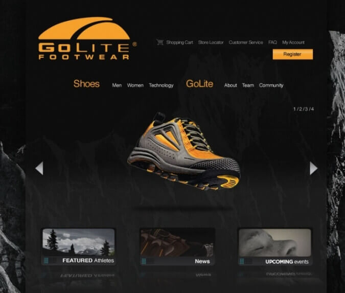 GOLITE FOOTWEAR - WEBSITE DESIGN BY CUSTOM SOFTWARE LAB